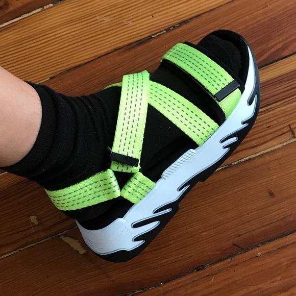 Neon Zara Trafaluc Platform Sandals